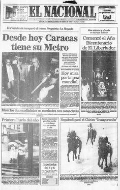 Desde hoy Caracas tiene Metro. Publicado el 03 de enero de 1983.