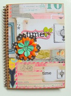 NoTebOOk  JouRNaL alTereD  TiME  le TeMPs  by BelleArticlesElegant, $8.00