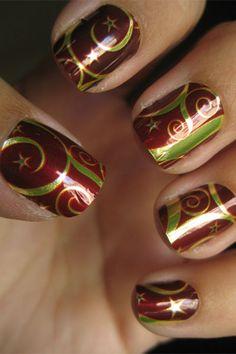 these are nail decals ! Seasonal Nails, Holiday Nails, Christmas Nails, Holiday Fun, Christmas Time, Nail Polish Art, Nail Polish Designs, Nail Art Designs, Foil Nail Art