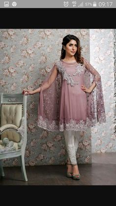 Pinterest: ✨☽⊱beauty0321⊰☾✨ Pakistani Cape dress with tulip pants beautiful. Just loving it
