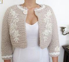 Bridal Bolero Jacket 3/4 Sleeve  Knitting Cardigan Knit Wedding Shrug Champagne. $99.00, via Etsy.