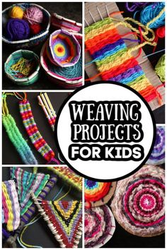 8 Beginner Weaving Projects for Kids - Happy Hooligans - - Beginner weaving projects for kids ages From cardboard loom weaving to weaving on sticks and drinking straws. Make trivets, headbands, bookmarks, wall art and more. Art Projects For Adults, Toddler Art Projects, Craft Projects For Kids, Yarn Projects, Loom Weaving Projects, Teen Art Projects, Straw Weaving, Weaving For Kids, Weaving Art
