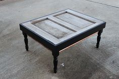Exterior door turned a coffee table--repurposing at it's finest - Unskinny Boppy