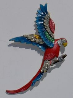 Look what I found on @eBay! Vintage Rhinestone Enamel Perched Parrot Bird Figu http://r.ebay.com/GP3W7o