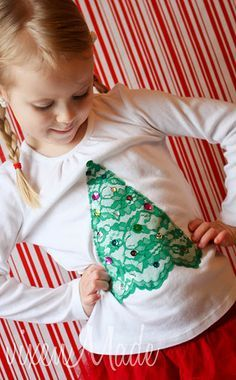 Lace Christmas Tree Shirt Seemann Young - Easy to do for Lilly Lace Christmas Tree, Ugly Christmas Sweater, Holiday Fun, Holiday Crafts, Christmas Holidays, Merry Christmas, Ugly Sweater, Xmas Tree, Christmas Shirts For Kids