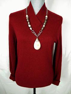 Prive Cashmere Sweater M Medium Red V Neck Pullover Knit Top #Prive #VNeck