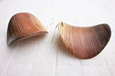 Wood Handmade chips earringsindividual unique by JanosToldik