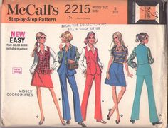 Vintage 60's Sewing Pattern  Vest Jacket Top, V Neck Collared Shirt, A-Line Jean Skirt & Pants