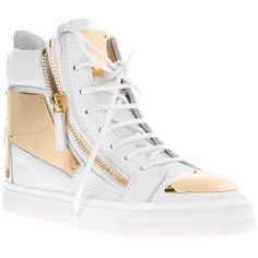 Giuseppe Zanotti Design Metallic Hi-Top Sneaker (2.267.360 COP) ❤ liked on Polyvore featuring shoes, sneakers, lace up wedge sneakers, metallic high top sneakers, leather sneakers, leather high tops and high top shoes
