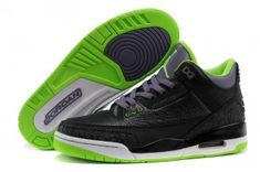 "342654f05f9 New Air Jordan 3 Retro ""Joker"" Black Electric Green-Canyon Purple-White"