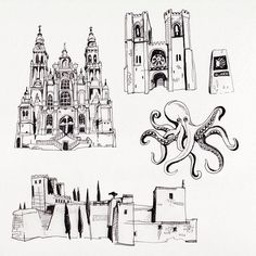 Pre drawings for my custom illustrated map of Spain. Illustration by Theresa Grieben.   illustrated map work in progress handdrawing #travel traveling roadtrip map art santiago de campostela lisbon cathedral octopus icons drawing illustration berlin illustrator artwork wanderlust alhambra spainmonuments mediterranean  countrymap pencil blackandwhite blackandwhitedrawings