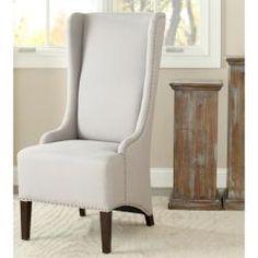 $313.99 Deco Bacall Nailhead Beige Linen Side Chair