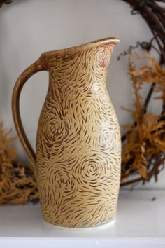 Ceramic Pitcher Earthy Brown with Pink Streaks, Hand Carved