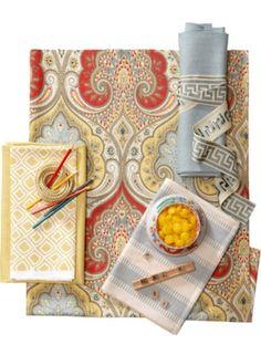 Fabrics: Latika/Festival. Slubby Linen/Zephyr and Daisy. Kilburn/Sunglo. New Ladder Stripe/Spa.