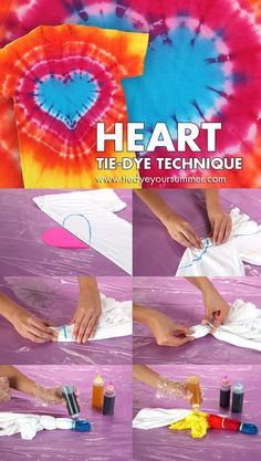 Make this cool technique using Tulip One-Step - Zumba Shirts - Ideas of Zumba Shirt - Heart Tie Dye Technique Pattern. Make this cool technique using Tulip One-Step Tie-Dye! Fête Tie Dye, How To Tie Dye, Tie Dye Tips, Tie Dye Socks, Kids Tie Dye, Heart Tye Dye, Diy Tie Dye Heart, Shibori, Tie Dye Folding Techniques
