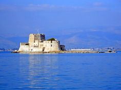 #Bourtzi, the Venetian islet fortress guarding the port entrance and #Nafplio's most photographed landmark. #Peloponnese, #Greece