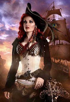 I love Steampunk Pirates! Steampunk Mode, Steampunk Pirate, Steampunk Cosplay, Gothic Steampunk, Steampunk Fashion, Steampunk Images, Pirate Queen, Pirate Woman, Pirate Life