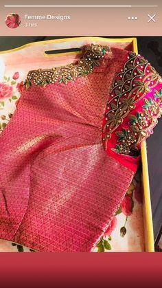 Saree blouse Pattu Saree Blouse Designs, Blouse Designs Silk, Designer Blouse Patterns, Bridal Blouse Designs, Hand Work Blouse Design, Simple Blouse Designs, Stylish Blouse Design, Blouse Designs Catalogue, Maggam Work Designs