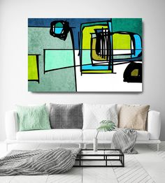 Vibrant Colorful Abstract-75. Mid-Century Modern Green Blue Canvas Art Print, Mid Century Modern Canvas Art Print up to 72 by Irena Orlov