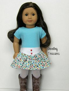 18 inch doll clothes, AG doll clothes, aqua t-shirt and yoke floral skirt