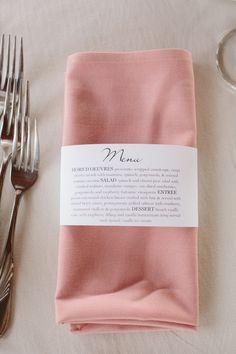 napkin tied with a menu idea http://www.weddingchicks.com/2013/10/21/industrial-wedding-2/