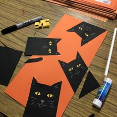 variation on peek-a-boo cats. I love the addition of the tail! art lessons Peek A Boo Cat Collage · Art Projects for Kids Halloween Art Projects, Halloween Arts And Crafts, Fall Art Projects, Theme Halloween, Halloween Activities, Art Activities, Projects For Kids, Halloween Crafts Kindergarten, Halloween Halloween