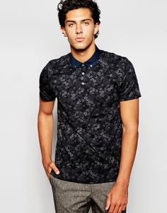 Image 1 of Ted Baker Polo Shirt with All Over Flower Print