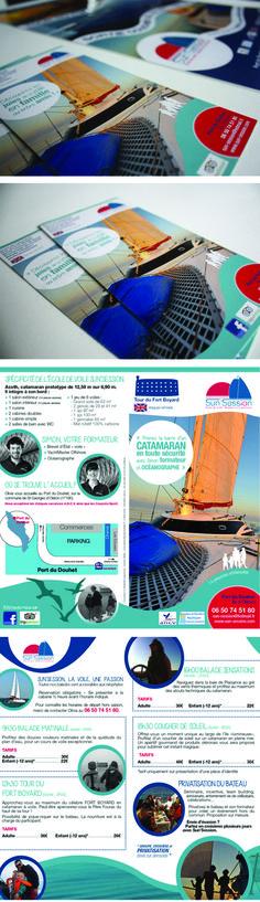 Sun session – École de voile  balades en catamaran Refonte de I'identité visuelleet réalisation des supports de communication (affiche, plaquette).