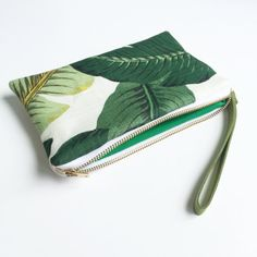 White and Palm Leaf Wristlet by NellieAndPhoebs on Etsy