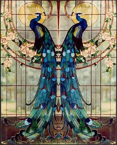 Peacock Stained Glass.....c. 1890... The American artist LOUIS COMFORT TIFFANY…