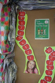 Prek Math Activity for Ten Apples Up On Top. Fall Preschool, Preschool Lessons, Teaching Kindergarten, Preschool Classroom, Preschool Crafts, Classroom Ideas, Preschool Apples, September Preschool, Kindergarten Themes