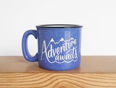 Adventure Awaits Mug 15 oz Campfire by WildandFreeDesigns on Etsy