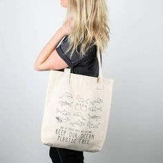Eco Bag Zero Waste Say No to Plastic - Ocean Conservation Eco Bag - Marine Life Canvas Tote - Say No to Plastic Shopping Bag - Marine Conservation Market Bag Its time to ditch the plastic bag and single use plastics! Save our oceans and use a canvas bag for your everyday needs. Featuring