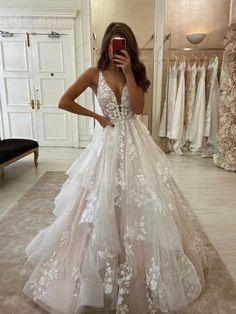 Lace Bridal, Ivory Lace Wedding Dress, V Neck Wedding Dress, Cute Wedding Dress, Wedding Dress Trends, Best Wedding Dresses, Bridal Dresses, Tulle Lace, Wedding Ideas