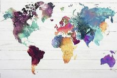 Colorful Oil Painting World Map Pattern Canvas Deco Panel, Art Carte, Water Color World Map, World Map Canvas, World Map Painting, World Map Poster, World Map Art, Art Storage, Watercolor Map