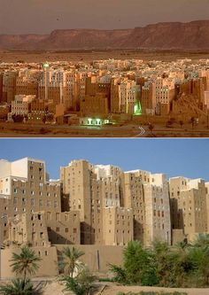"""lickystickypickyme: """" Shibam, a town in Hadramawt, Yemen, is considered to have the world's oldest skyscrapers. It has about 7,000 inhabitants and all of the town's house are made out of mud bricks...."""