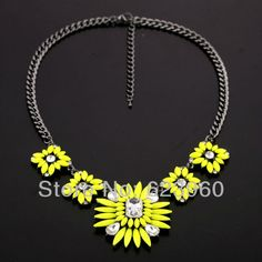 2013 Fall collection. Luxury yellow and clear crystal statement Necklace. Also available in pink.