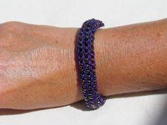 Handmade French Knit Beaded Bracelet  Purple by SpindleCityKnits