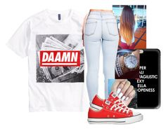 """DAAMN"" by arii-bankss ❤ liked on Polyvore featuring H&M, Casetify and Converse"