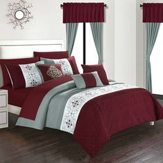 Transform your bedroom into a decadent sleep space with the Chic Home Jurgen Comforter Set. An elegant color block theme with floral embroidery and quilted details makes this comforter set a fashionable choice for a decor makeover. Burgundy Bedroom, Bedroom Red, Bedroom Paint Colors, Trendy Bedroom, Bedroom Decor, Red Bedrooms, Bedroom Ideas, Bedroom Comforter Sets, Queen Comforter Sets
