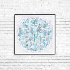 Geometric art Print Jewel Gem Mandala Poster Wall art Room decor Dimensions Modern Abstract art Blue Green White Illusion Gift Line art Illusion Art, Colorful Paintings, Geometric Art, Poster Wall, Female Art, Line Art, Illusions, Gem, Jewel