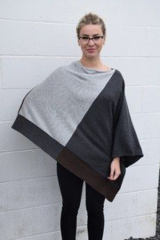 Project Color Blocked Poncho | Grey, Charcoal and Chocolate make up this 100% Cotton poncho.  One size, 2 available | Primary View | Tangerine Boutique