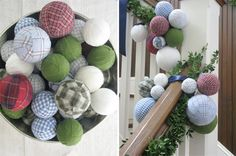 Ornaments from Old Shirts & Styrofoam Balls: Tutorial on Site Christmas Ornaments To Make, Christmas Balls, Christmas Projects, Christmas Art, Christmas Decorations, Easy Ornaments, Fabric Ornaments, Styrofoam Ball, Old Shirts