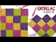 Entrelac en punto red para colchas de bebé tejido a crochet -Tejiendo Perú - YouTube