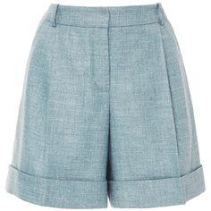 Alena Akhmadullina     High Rise Linen Shorts ($510) ❤ liked on Polyvore featuring shorts, blue, alena akhmadullina, high rise shorts, highwaist shorts, blue shorts and mini shorts