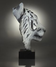 Bronze on slate plinth Cats Wild and Big Cats sculpture by artist Laura Lian titled: 'Ghost Tiger (bronze Head Wild Life Contemporary Endangered statue)'