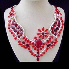 Granatquarz, rot, Halskette, Collier, Silber plattiert in Uhren & Schmuck, Modeschmuck, Halsketten & Anhänger | eBay
