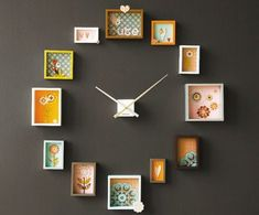 A photo frame clock! A photo frame clock! Picture Frame Clock, Old Picture Frames, Quirky Home Decor, Cheap Home Decor, Diy Home Decor, Clock Art, Diy Clock, Clock Ideas, Paper Clock