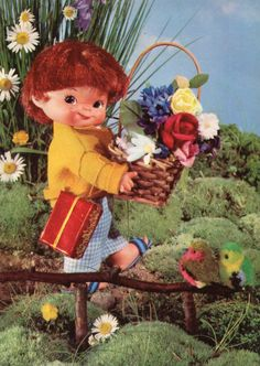 Vintage doll postcard 60s by CuteEyeCatchers on Etsy, €3.50