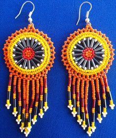 Huichol Beaded earrings by Aramara on Etsy